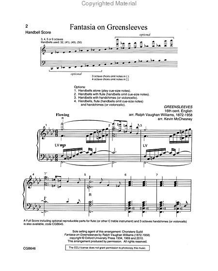 Page 1 of Fantasia on Greensleeves - Handbell Score