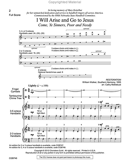 Page 1 of I Will Arise and Go to Jesus - Full Score