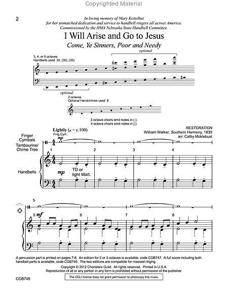 Page 1 of I Will Arise and Go to Jesus - 3-5 octave HB Score