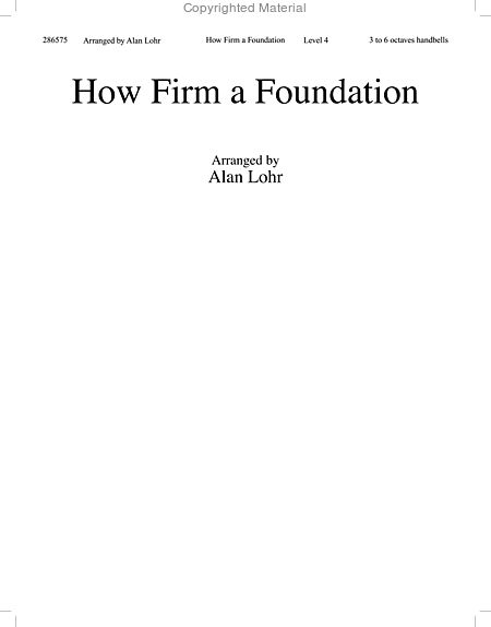 Page 1 of How Firm a Foundation