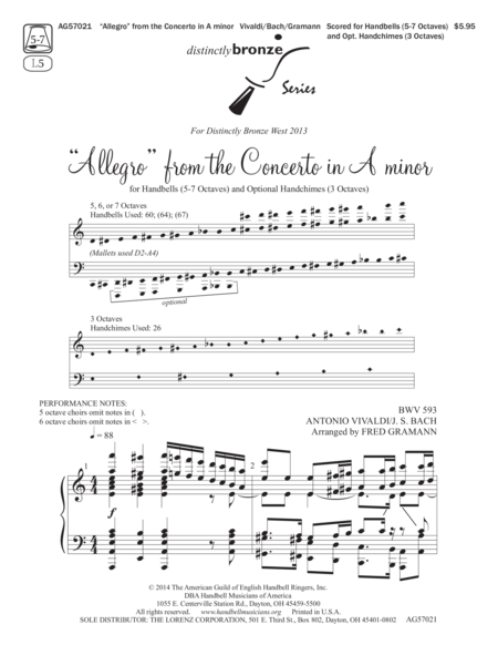 Page 1 of Allegro from the Concerto in A minor