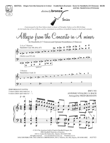 Cover of Allegro from the Concerto in A minor