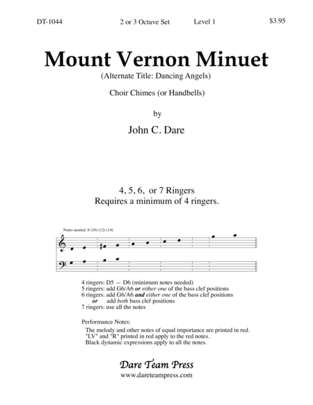 Cover of Mount Vernon Minuet