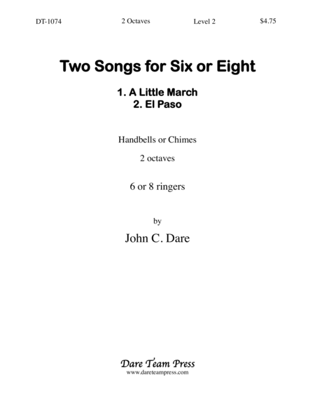 Cover of Two Songs for Six or Eight