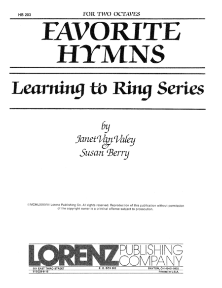 Cover of Learning to Ring Favorite Hymns