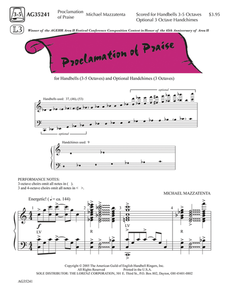 Cover of Proclamation of Praise